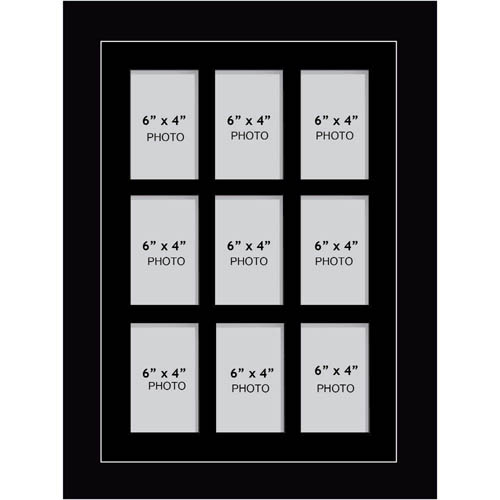 "Large Multi Picture Photo Aperture Frame, 6"" x 4"" size with 9 openings portrait"