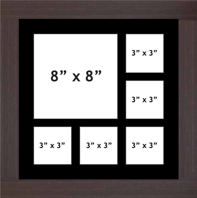 "Multi Aperture picture frame fits 6 (1x8""x8"", 4x3""x3"") photos frames"