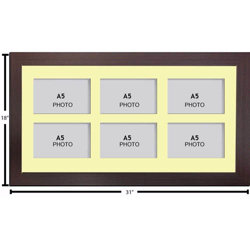 Large Multi Picture Photo Aperture Frame A5 size with 6 openings landscape