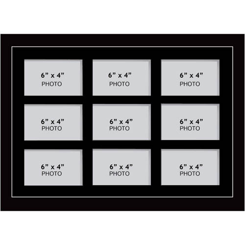 "Large Multi Picture Photo Aperture Frame 6"" x 4"" size with 9 openings"