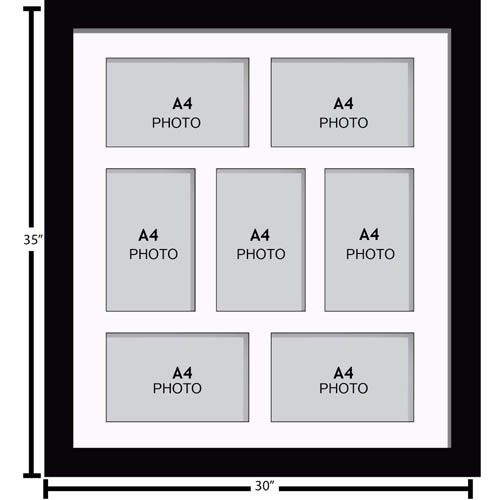Large Multi Picture Photo Aperture Frame, A4 size with 7 openings