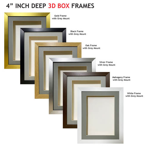 4 inch Deep Shadow 3D Box Picture Frame - Grey Mount