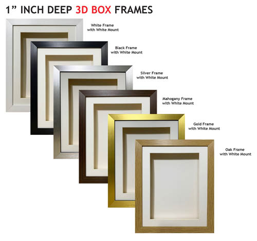 1 inch Deep Shadow 3D Box Picture Frame - White Mount