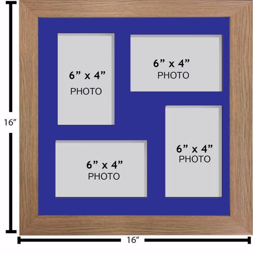 "Large Multi Picture Photo Aperture Frame, 6"" x 4"" size with 4 openings"