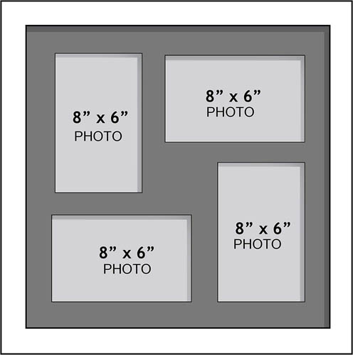 "Large Multi Picture Photo Aperture Frame, 8"" x 6"" size with 4 openings"