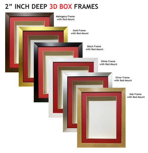2 inch Deep Shadow 3D Box Picture Frame - Red Mount
