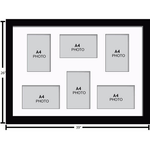 Large Multi Picture Photo Aperture Frame A4 size with 6 openings