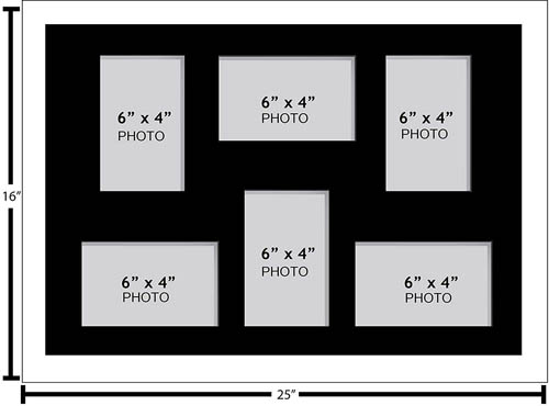 "Large Multi Picture Photo Aperture Frame 6"" x 4"" size with 6 openings"
