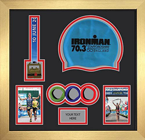 Ironman Staffordshire 70.3 triathlon marathon, running medal display frame