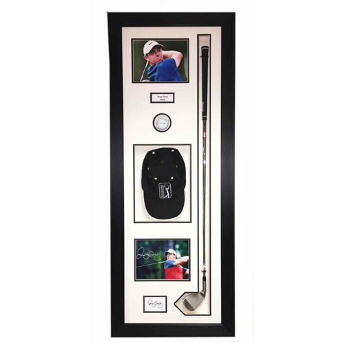 Golf Ball Display Case For Golf Club, Ball, Cap And 2x FREE PHOTOS AND TITLE Inc.