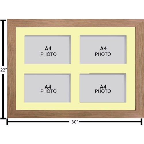 Large Multi Picture Photo Aperture Frame, A4 size with 4 openings - landscape