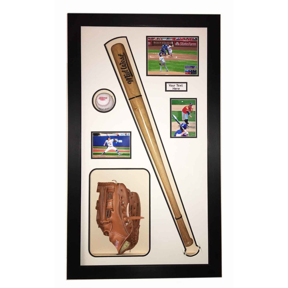 BASEBALL DISPLAY CASE FRAME FOR BASEBALL BAT, BALL AND GLOVES OR CAP – FREE PHOTOS AND TITLE INCLUDED