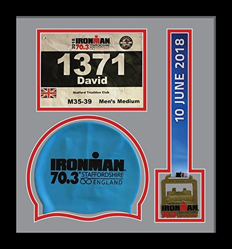 Ironman Staffordshire 70.3 triathlon marathon, running medal, swimming caps display frame