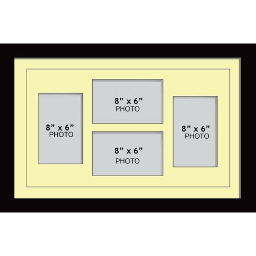 """Large Multi Picture Photo Aperture Frame, 8"""" x 6"""" size with 4 openings 