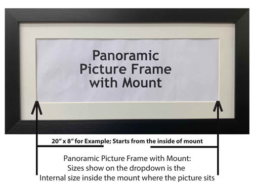 Panoramic Picture Photo Print Poster Frame, Choice of different mounts, frames, sizes