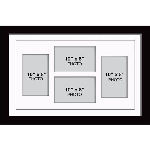 "Large Multi Picture Photo Aperture Frame, 10"" x 8"" size with 4 openings 