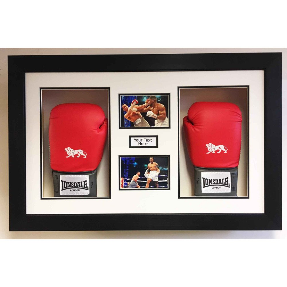 3D Box Frame Boxing Gloves Display Case For Anthony Joshua 2x Signed Gloves With Title and 2x Photos
