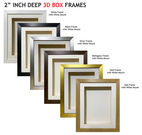 2 inch Deep Shadow 3D Box Picture Frame - White Mount