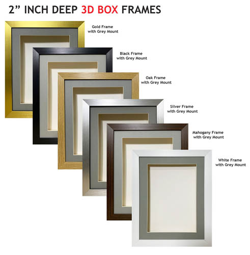 2 inch Deep Shadow 3D Box Picture Frame - Grey Mount