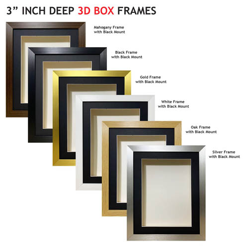 3 inch Deep Shadow 3D Box Picture Frame - Black Mount