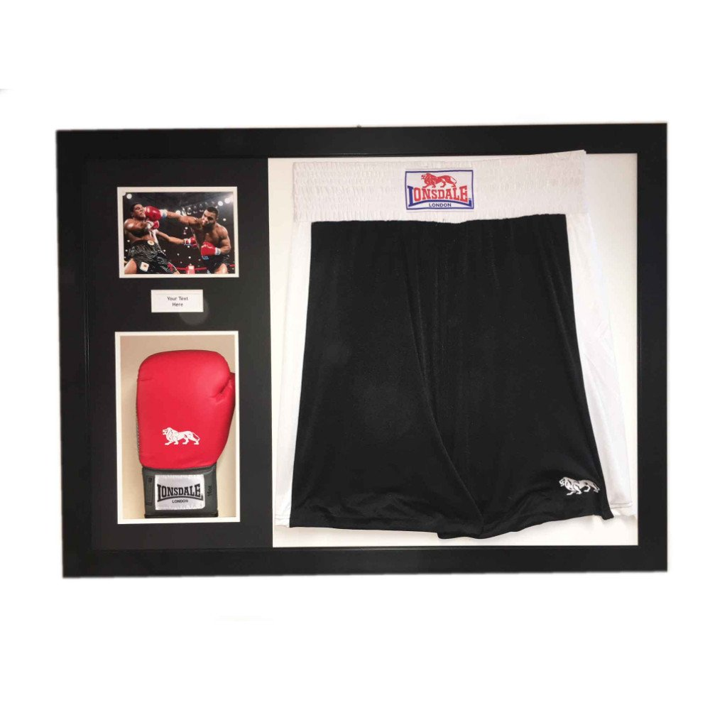 Boxing 3D Display Case For Boxing Shorts, Glove, Photo and title in Black Frame