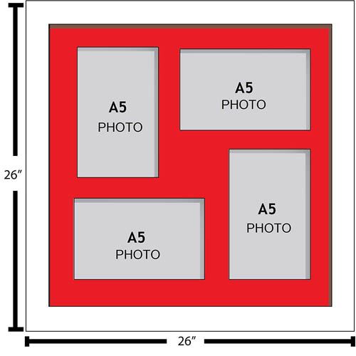 Large Multi Picture Photo Aperture Frame, A5 size with 4 openings