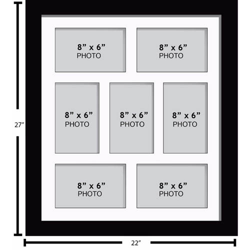 """Large Multi Picture Photo Aperture Frame 8"""" x 6"""" size with 7 openings"""