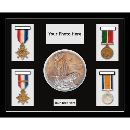 Medal Frames in 3D Box Display Frame casing World War Military Medals 4 & Memorial Plaque 1