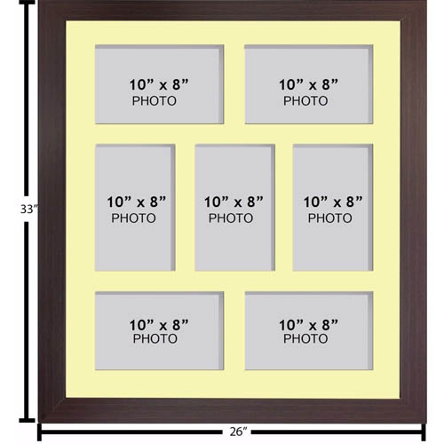 "Large Multi Picture Photo Aperture Frame, 10"" x 8"" size with 7 openings"