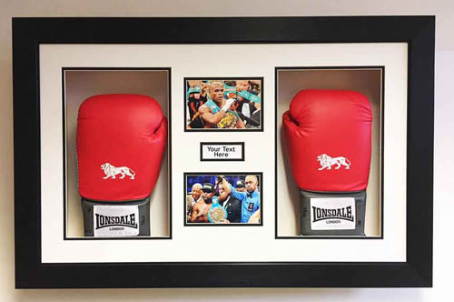 Boxing Glove Display Case for 2x Floyd Mayweather Signed Gloves. FREE 2x photo and text included.