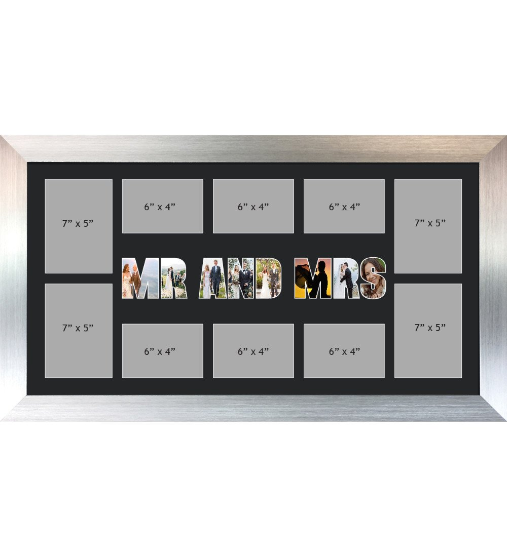 MR AND MRS Photo Frame Personalised Name Frames | Large Multi MR AND MRS Word Photo 3D Frame
