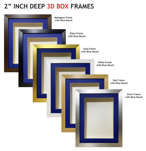 2 inch Deep Shadow 3D Box Picture Frame - Blue Mount