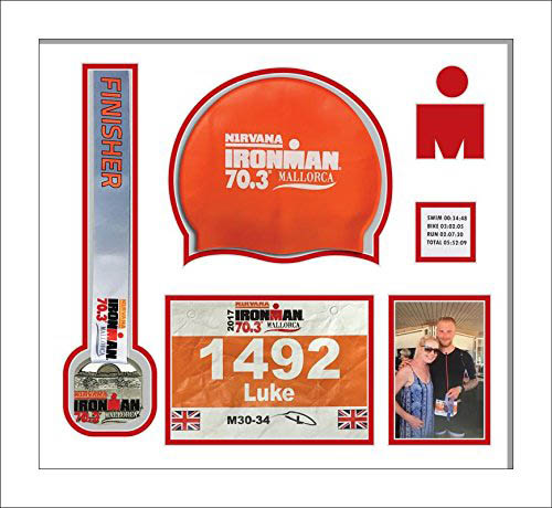 Ironman Staffordshire 70 3 triathlon marathon, running medal, swimming cap and photo display frame