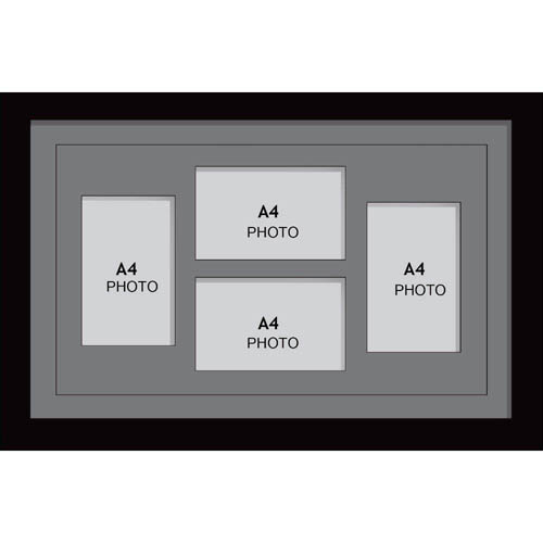 Large Multi Picture Photo Aperture Frame, A4 size with 4 openings