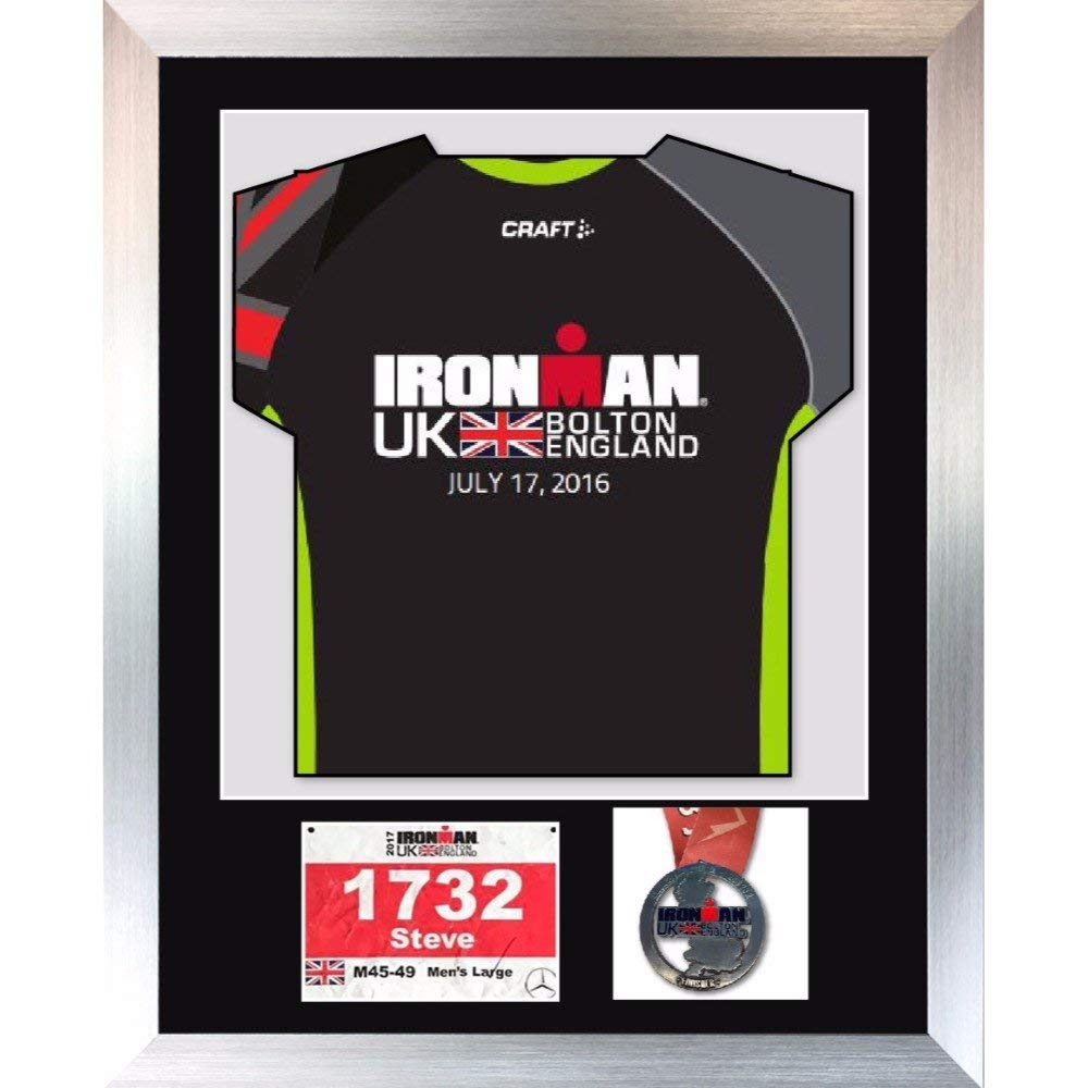 "3D Frame For Ironman, Triathlon Marathon, Running Shirt, Medal And Running Badge Display Frame - 30"" x 25"""