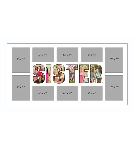 SISTER Photo Frames Personalised Name Frames - Large Multi SISTER Word Photo 3D Frames