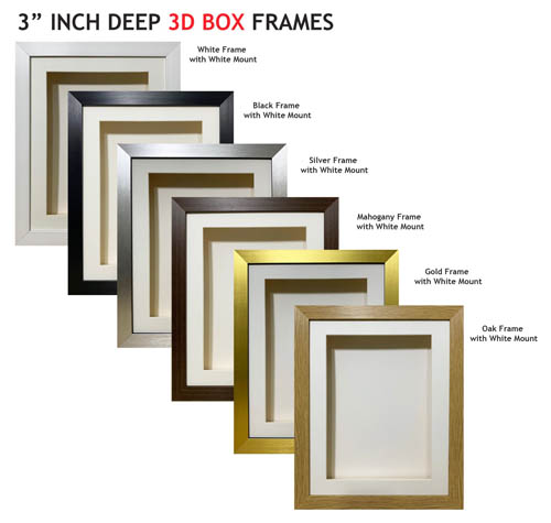 3 inch Deep Shadow 3D Box Picture Frame - White Mount