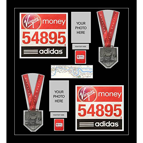 London marathon 2019 medal frame for 2xmedals, 2x Running Bib and 2x timing chip