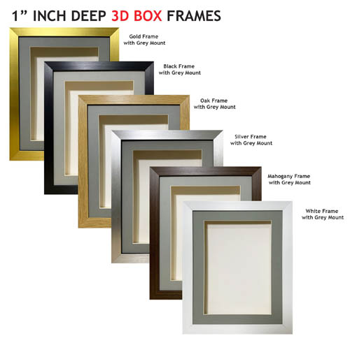 1 inch Deep Shadow 3D Box Picture Frame - Grey Mount