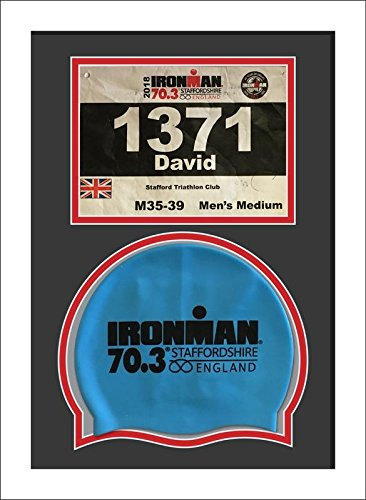 Ironman Staffordshire 70.3 triathlon running Number and Swimming cap Display Frame