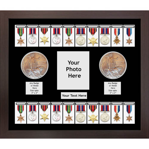 Medal Frame 3D Box Display With Badges For 20x World War Military Medals & Memorial Plaque