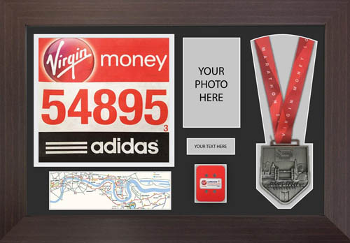 London Marathon 2019 Medal Display Frame with Timing chip display.