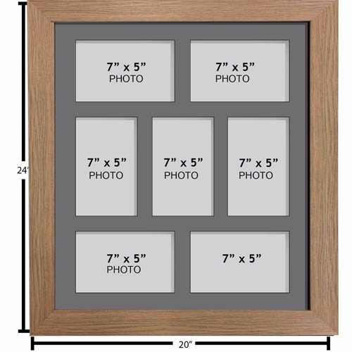 "Large Multi Picture Photo Aperture Frame, 7"" x 5"" size with 7 openings"