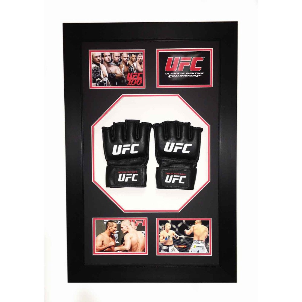 Frame Display Case For 2x Signed UFC Or MMA Glove And Mitts In Octagon 3D Design Box Frame