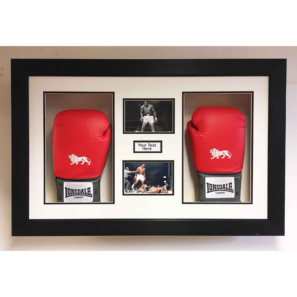 3D Box Frame Boxing Gloves Display Case For Muhammad Ali 2x Signed Gloves With Title and 2x Photos