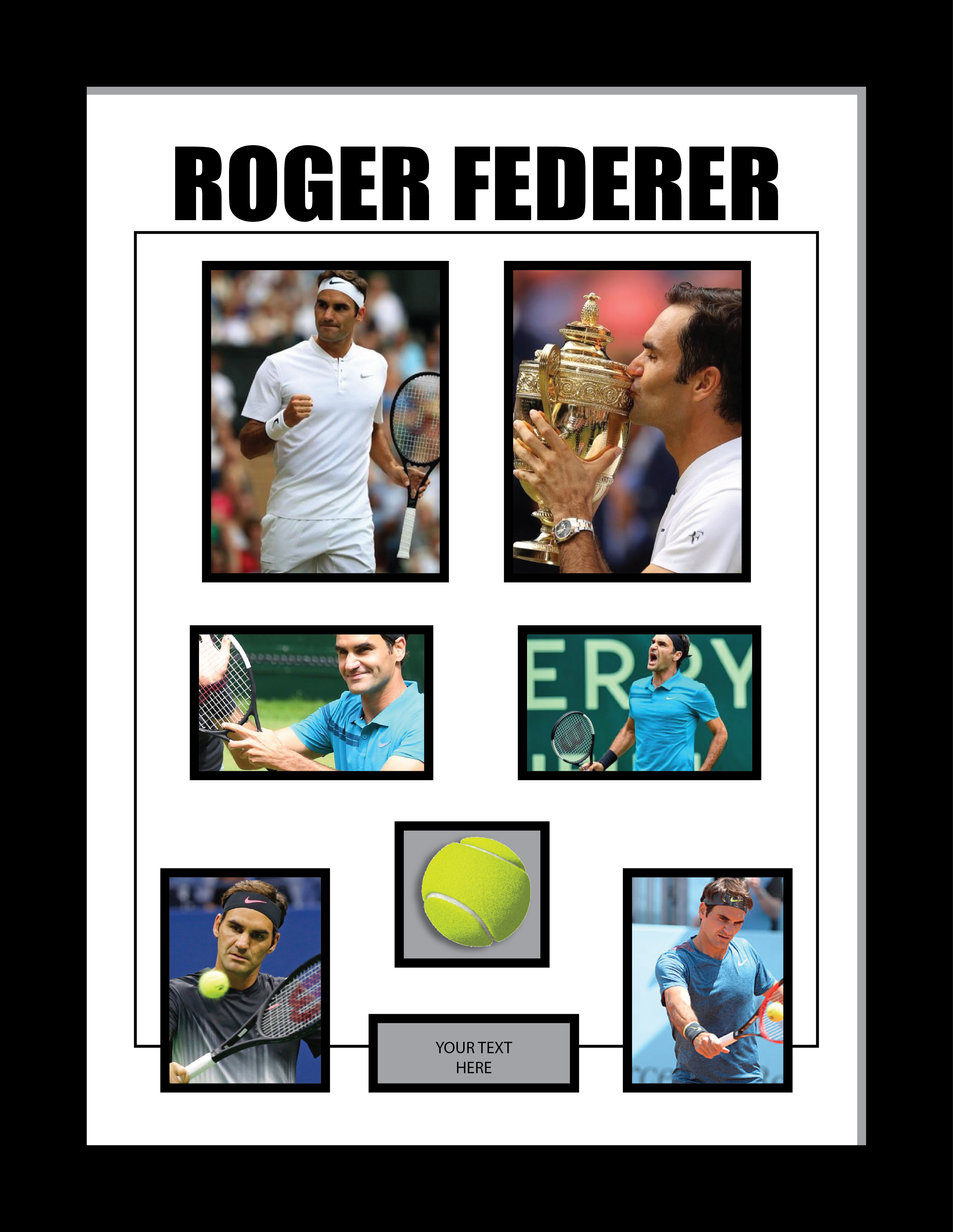 Roger Federer Tennis memorabilia with tennis ball display case