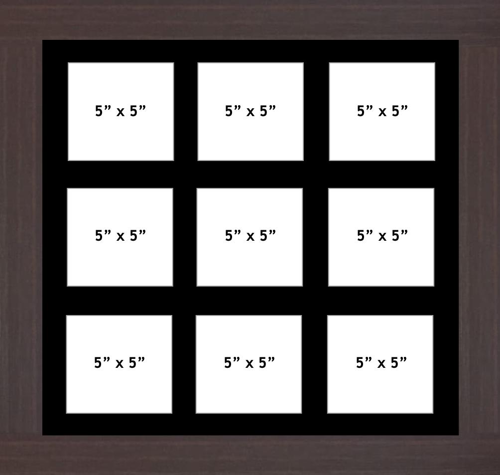 Multi Aperture Photo Frame fits 9 5x5 photos multi-picture frames