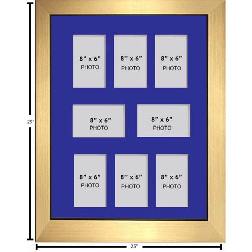 "Large Multi Picture Photo Aperture Frame, 8"" x 6"" size with 8 openings"
