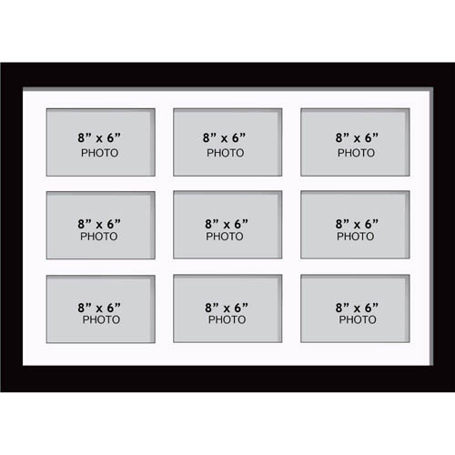 """Large Multi Picture Photo Aperture Frame 8"""" x 6"""" size with 9 openings"""