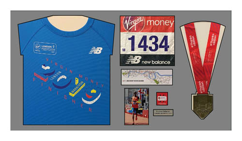 2019 London Marathon Medal and Shirt Display Frame in Black Mount